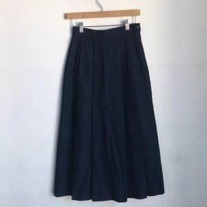 Vintage Navy Blue Wool Skirt